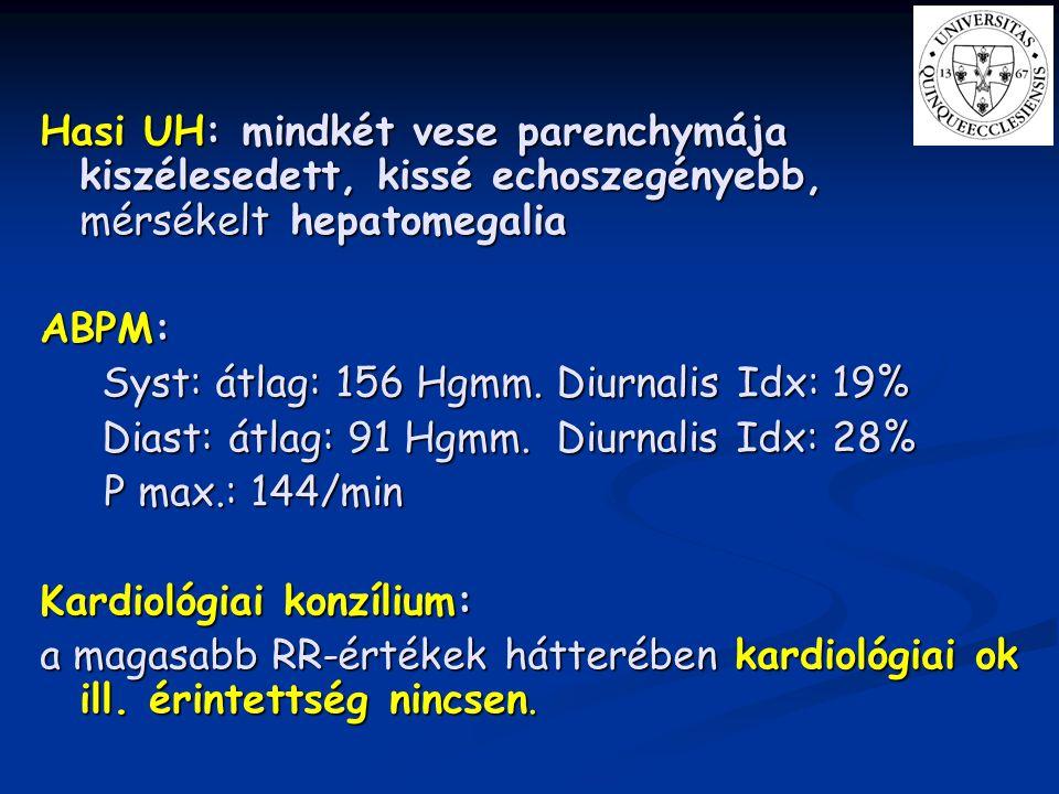 Hasi UH: mindkét vese parenchymája kiszélesedett, kissé echoszegényebb, mérsékelt hepatomegalia ABPM: Syst: átlag: 156 Hgmm. Diurnalis Idx: 19% Syst: