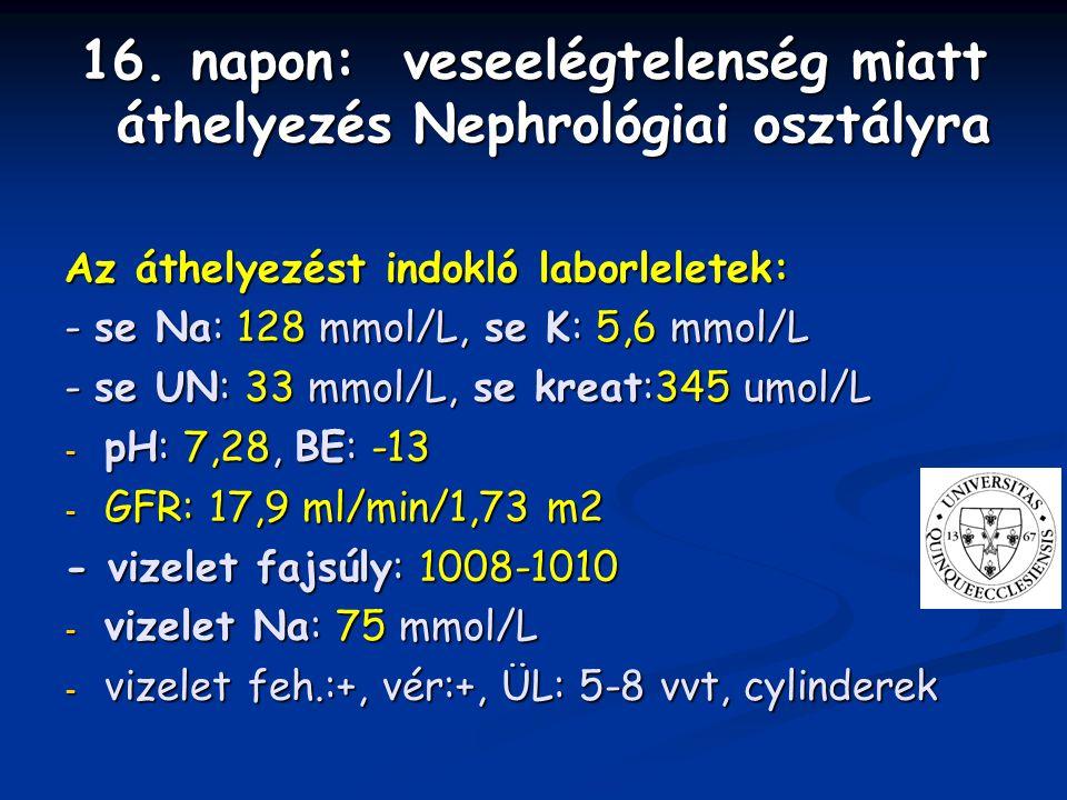 16. napon: veseelégtelenség miatt áthelyezés Nephrológiai osztályra Az áthelyezést indokló laborleletek: - se Na: 128 mmol/L, se K: 5,6 mmol/L - se UN