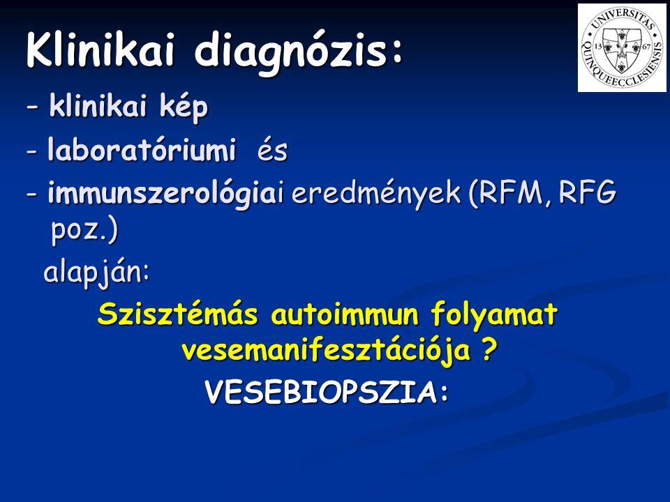 Klinikai diagnózis: - klinikai kép - laboratóriumi és - immunszerológiai eredmények (RFM, RFG poz.) alapján: alapján: Szisztémás autoimmun folyamat ve