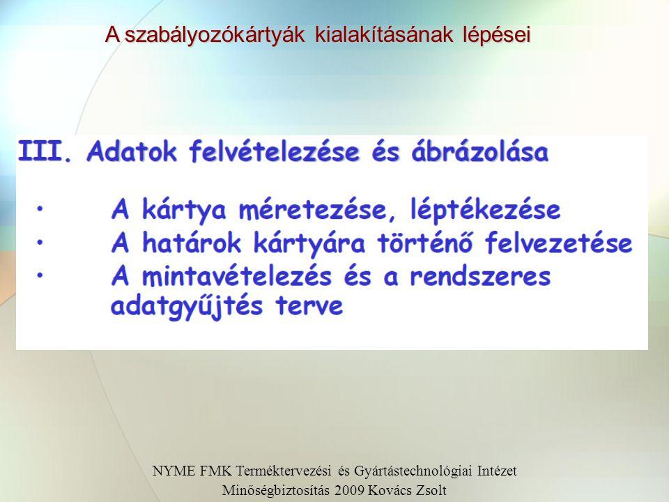 A szabályozókártyák kialakításának lépései NYME FMK Terméktervezési és Gyártástechnológiai Intézet Minőségbiztosítás 2009 Kovács Zsolt II. Jóváhagyás,