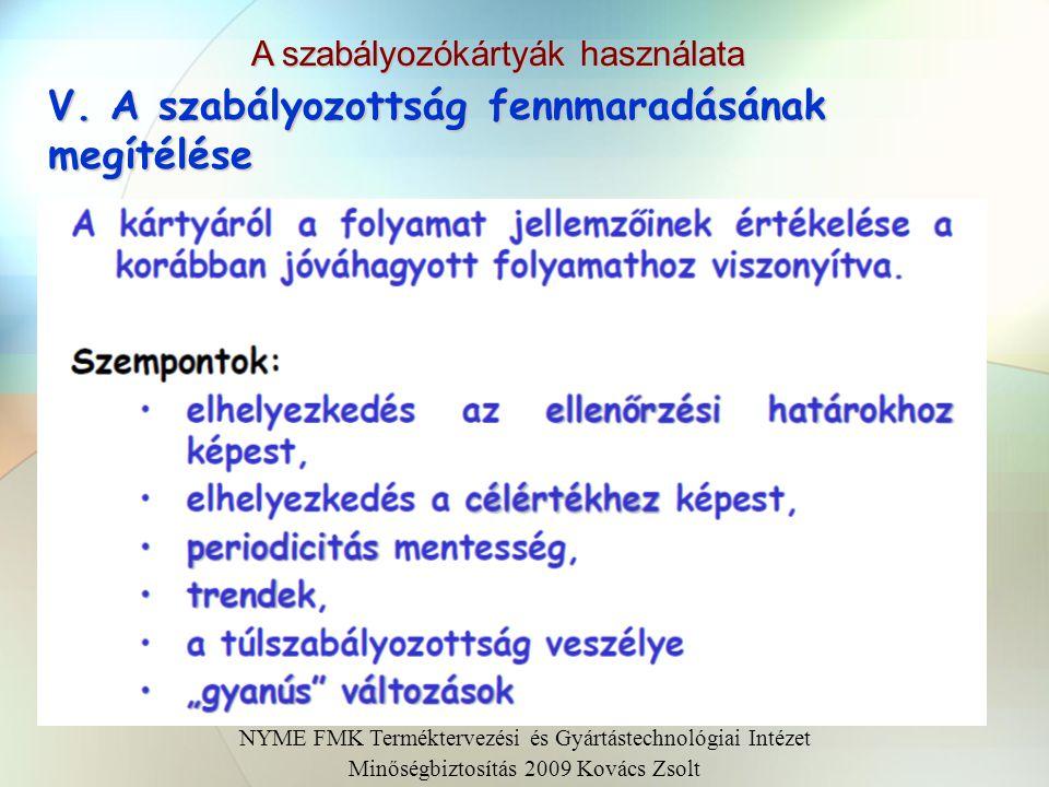 A szabályozókártyák kialakításának lépései NYME FMK Terméktervezési és Gyártástechnológiai Intézet Minőségbiztosítás 2009 Kovács Zsolt