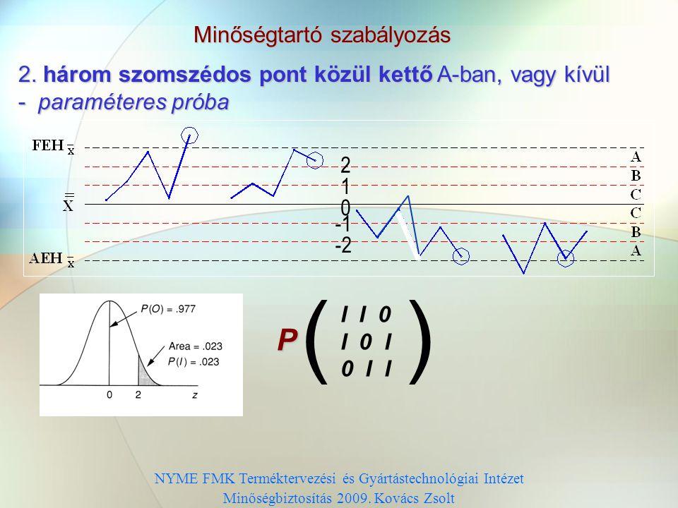 Minőségtartó szabályozás Számszabályok alkalmazása (run-tesztek): paraméteres (normális eloszlást feltételező) próbák nem-paraméteres (normális eloszl