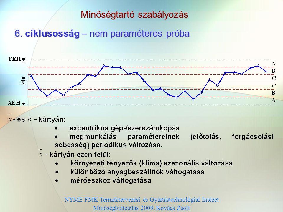 Minőségtartó szabályozás 5. trend – nem paraméteres próba NYME FMK Terméktervezési és Gyártástechnológiai Intézet Minőségbiztosítás 2009. Kovács Zsolt