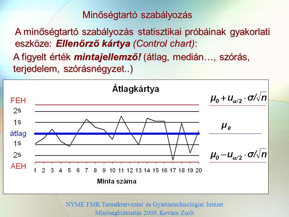 Minőségtartó szabályozás Elfogadási tartomány NYME FMK Terméktervezési és Gyártástechnológiai Intézet Minőségbiztosítás 2009. Kovács Zsolt