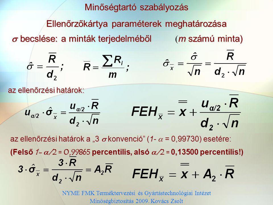 Minőségtartó szabályozás Ellenőrzőkártya paraméterek meghatározása Ellenőrzési határok: Nem ismert szórás esetén: FEH = CL +u  /2  /  becslése: m s