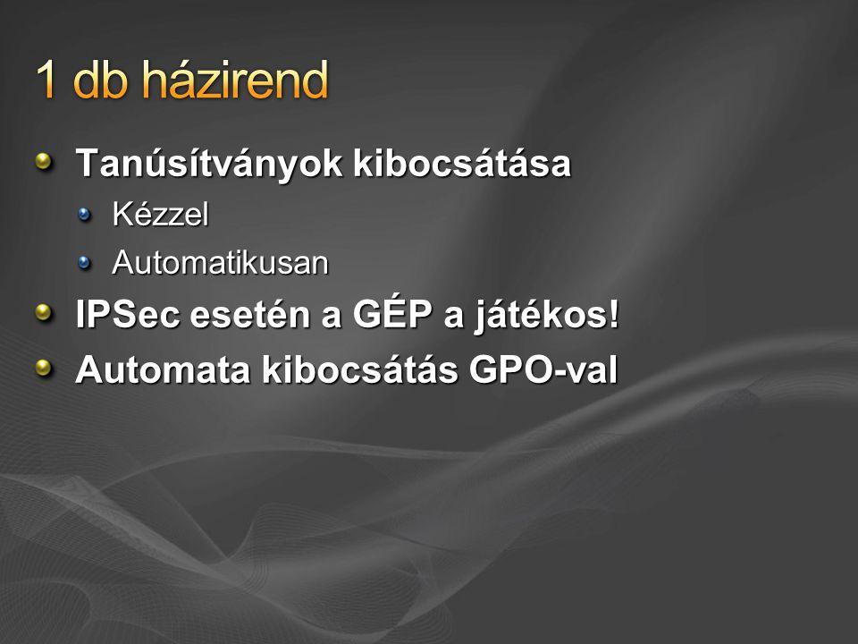 Tanúsítványok kibocsátása KézzelAutomatikusan IPSec esetén a GÉP a játékos! Automata kibocsátás GPO-val