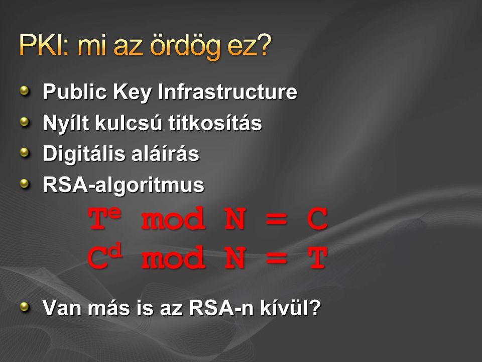 Public Key Infrastructure Nyílt kulcsú titkosítás Digitális aláírás RSA-algoritmus Van más is az RSA-n kívül? T e mod N = C C d mod N = T