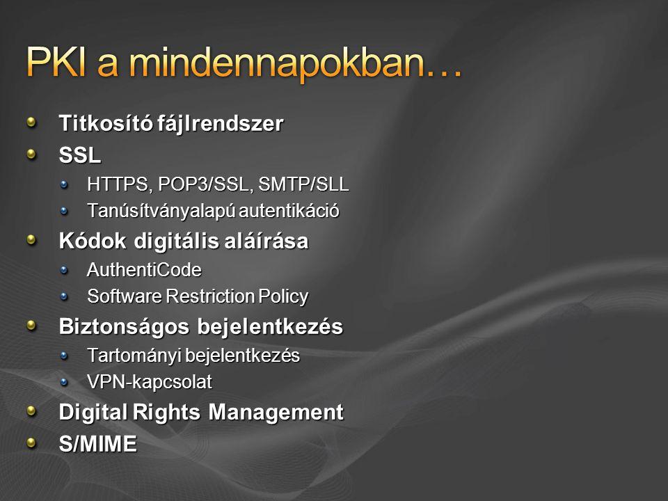 Titkosító fájlrendszer SSL HTTPS, POP3/SSL, SMTP/SLL Tanúsítványalapú autentikáció Kódok digitális aláírása AuthentiCode Software Restriction Policy B