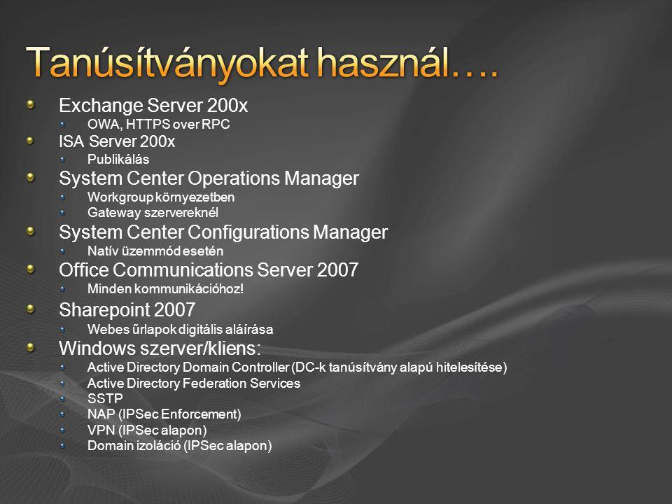 Exchange Server 200x OWA, HTTPS over RPC ISA Server 200x Publikálás System Center Operations Manager Workgroup környezetben Gateway szervereknél Syste