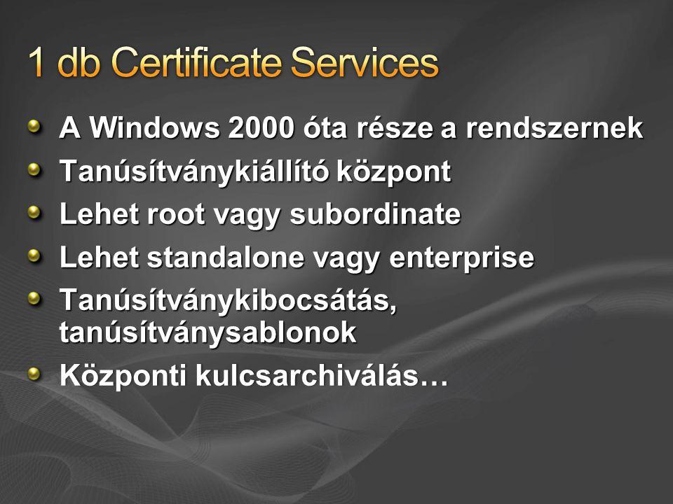 A Windows 2000 óta része a rendszernek Tanúsítványkiállító központ Lehet root vagy subordinate Lehet standalone vagy enterprise Tanúsítványkibocsátás,