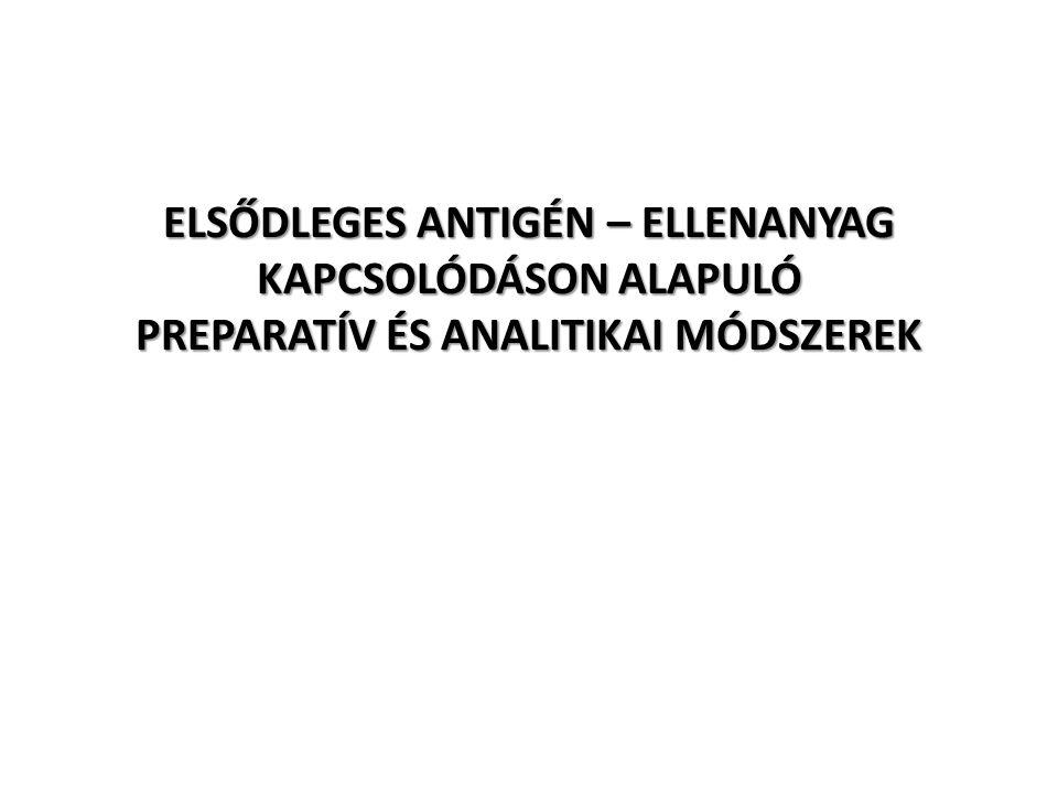 ELSŐDLEGES ANTIGÉN – ELLENANYAG KAPCSOLÓDÁSON ALAPULÓ PREPARATÍV ÉS ANALITIKAI MÓDSZEREK