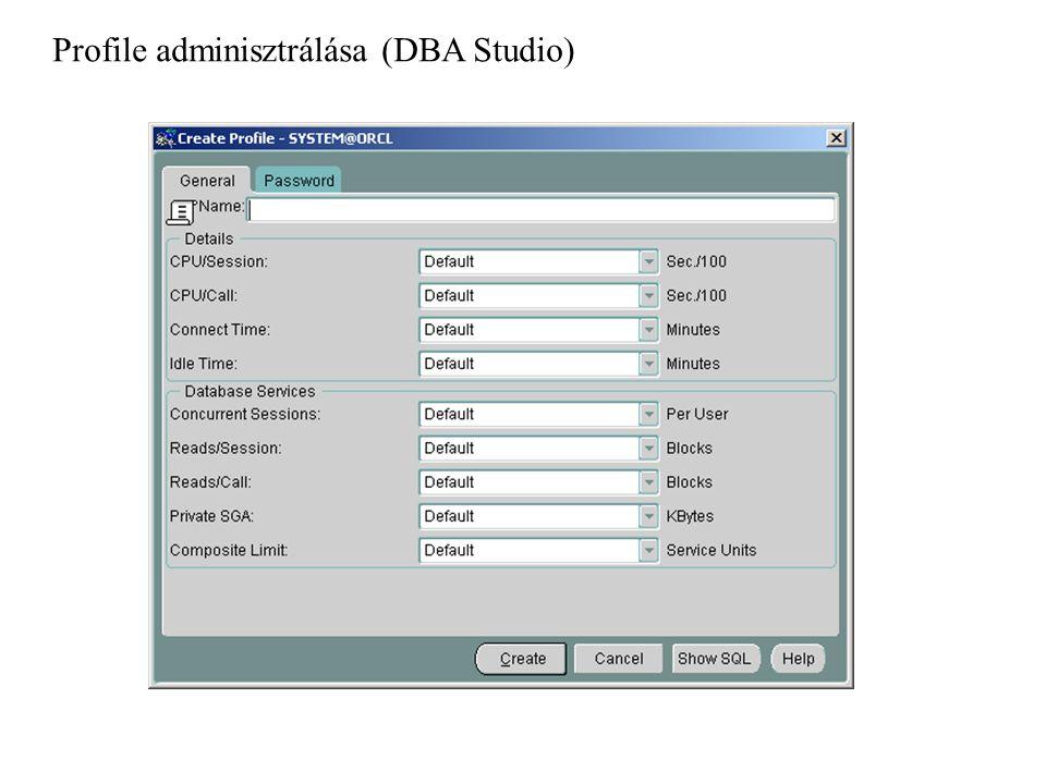 Profile adminisztrálása (DBA Studio)