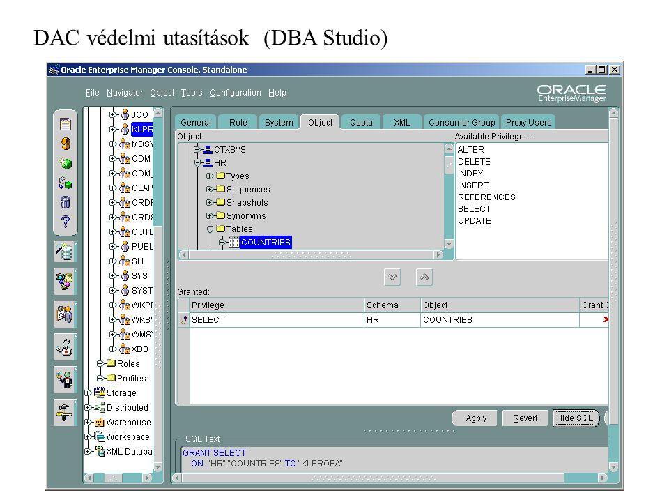 DAC védelmi utasítások (DBA Studio)