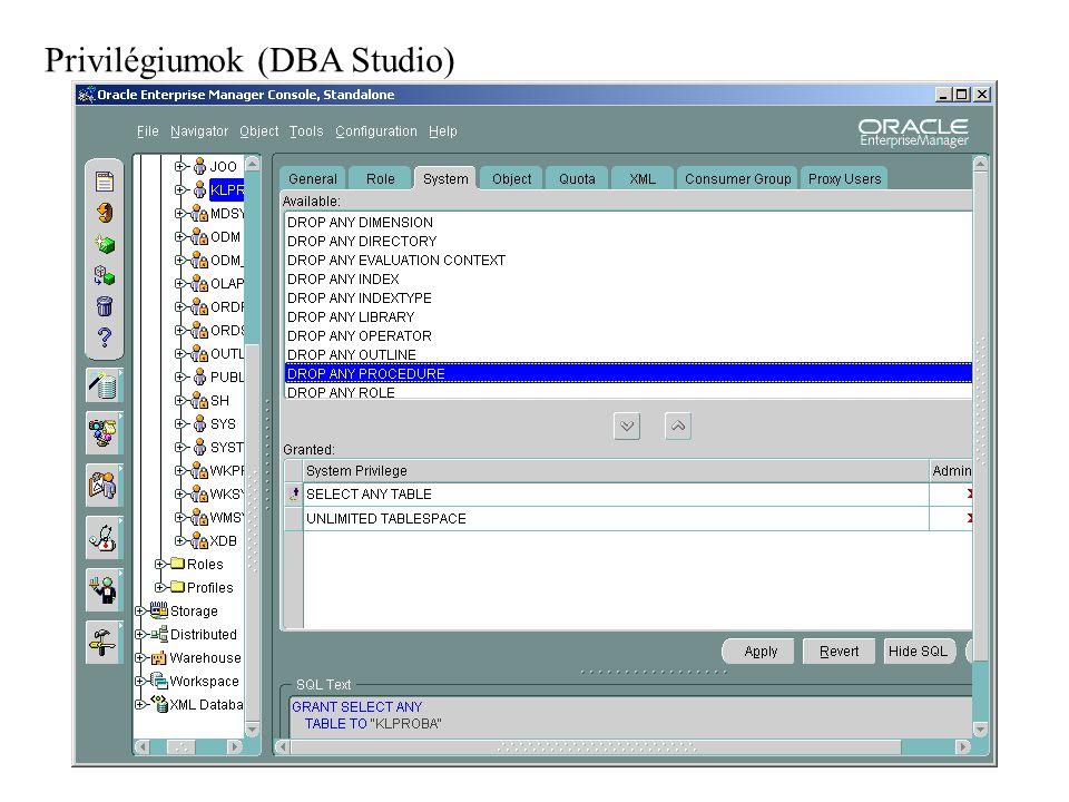 Privilégiumok (DBA Studio)
