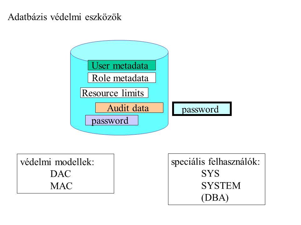 password User metadata Role metadata Audit data password Resource limits Adatbázis védelmi eszközök védelmi modellek: DAC MAC speciális felhasználók: SYS SYSTEM (DBA)