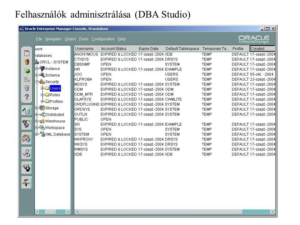 Szerepkörök (DBA Studio)