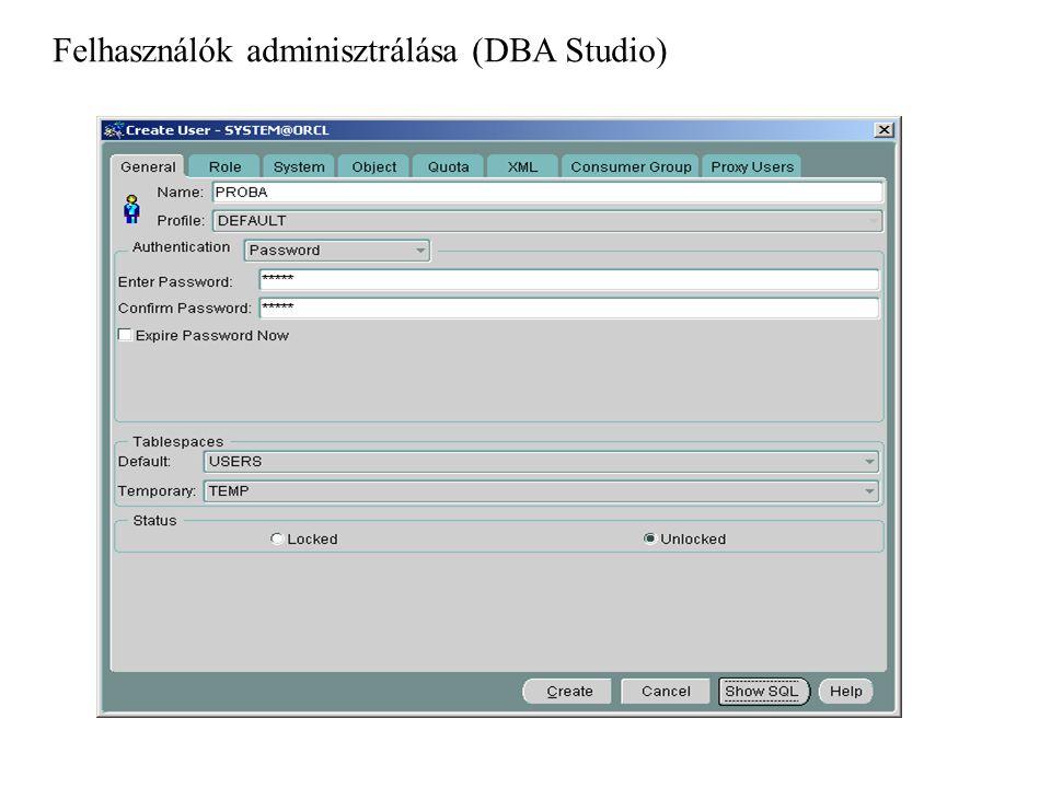 Tevékenységek naplózása SQL AUDIT Audit data végrehajtási szint: - command - session objektum szint: - login - command - DB object - privileg eredmény szint: - successful - unsucessful