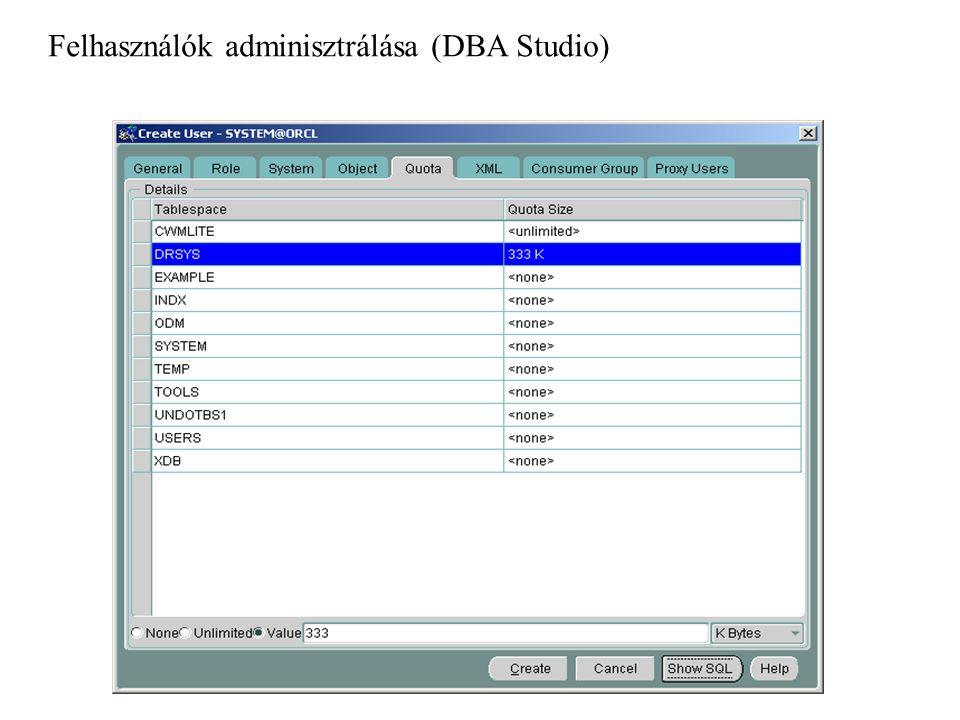 1.OS azonosítás engedélyezése INIT.ORA paraméterállomány : OS_AUTHENT_PREFIX=xx 2.