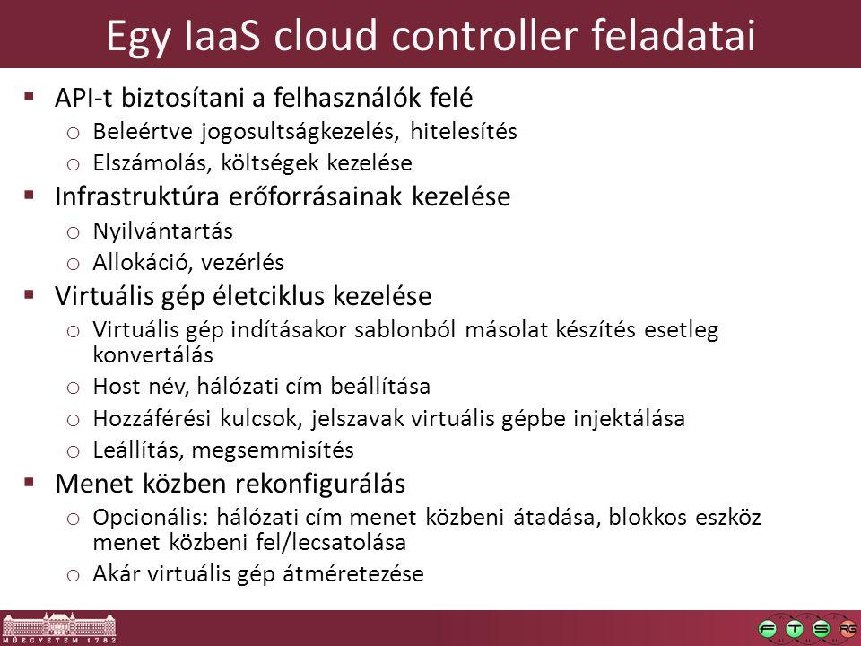 Egy IaaS cloud controller feladatai  API-t biztosítani a felhasználók felé o Beleértve jogosultságkezelés, hitelesítés o Elszámolás, költségek kezelése  Infrastruktúra erőforrásainak kezelése o Nyilvántartás o Allokáció, vezérlés  Virtuális gép életciklus kezelése o Virtuális gép indításakor sablonból másolat készítés esetleg konvertálás o Host név, hálózati cím beállítása o Hozzáférési kulcsok, jelszavak virtuális gépbe injektálása o Leállítás, megsemmisítés  Menet közben rekonfigurálás o Opcionális: hálózati cím menet közbeni átadása, blokkos eszköz menet közbeni fel/lecsatolása o Akár virtuális gép átméretezése