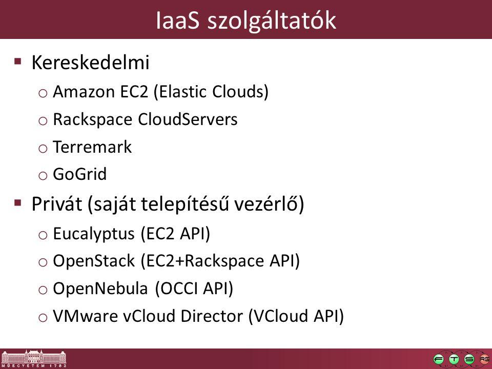 IaaS szolgáltatók  Kereskedelmi o Amazon EC2 (Elastic Clouds) o Rackspace CloudServers o Terremark o GoGrid  Privát (saját telepítésű vezérlő) o Eucalyptus (EC2 API) o OpenStack (EC2+Rackspace API) o OpenNebula (OCCI API) o VMware vCloud Director (VCloud API)