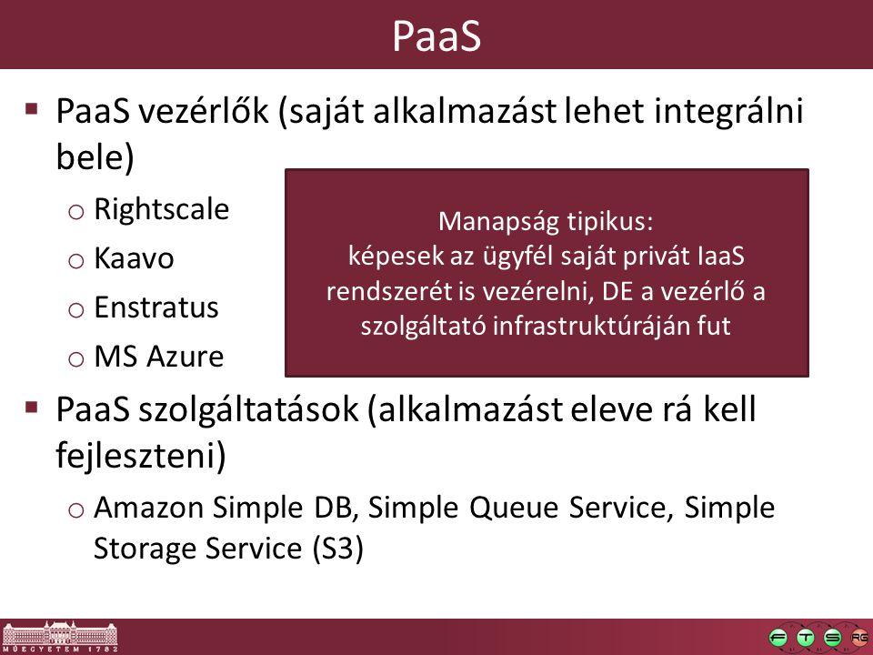PaaS  PaaS vezérlők (saját alkalmazást lehet integrálni bele) o Rightscale o Kaavo o Enstratus o MS Azure  PaaS szolgáltatások (alkalmazást eleve rá kell fejleszteni) o Amazon Simple DB, Simple Queue Service, Simple Storage Service (S3) Manapság tipikus: képesek az ügyfél saját privát IaaS rendszerét is vezérelni, DE a vezérlő a szolgáltató infrastruktúráján fut