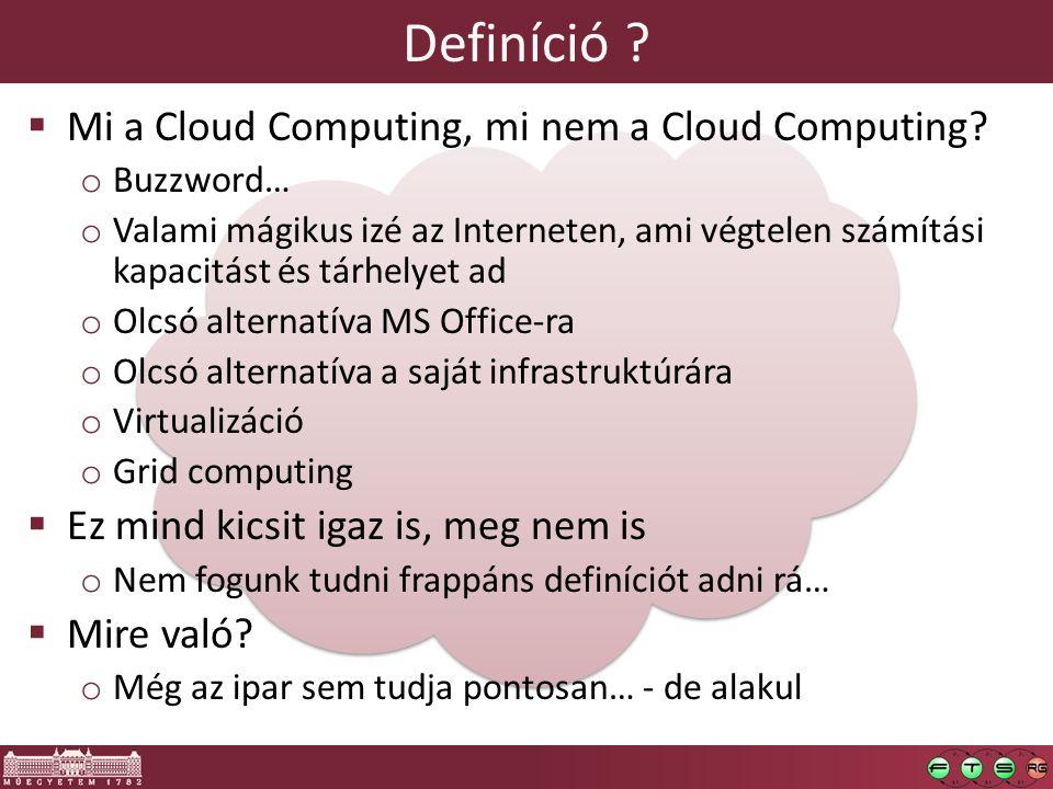 Definíció ?  Mi a Cloud Computing, mi nem a Cloud Computing? o Buzzword… o Valami mágikus izé az Interneten, ami végtelen számítási kapacitást és tár