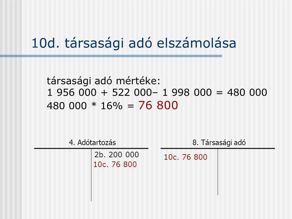 10d. társasági adó elszámolása 2b. 200 000 4. Adótartozás8. Társasági adó társasági adó mértéke: 1 956 000 + 522 000– 1 998 000 = 480 000 480 000 * 16
