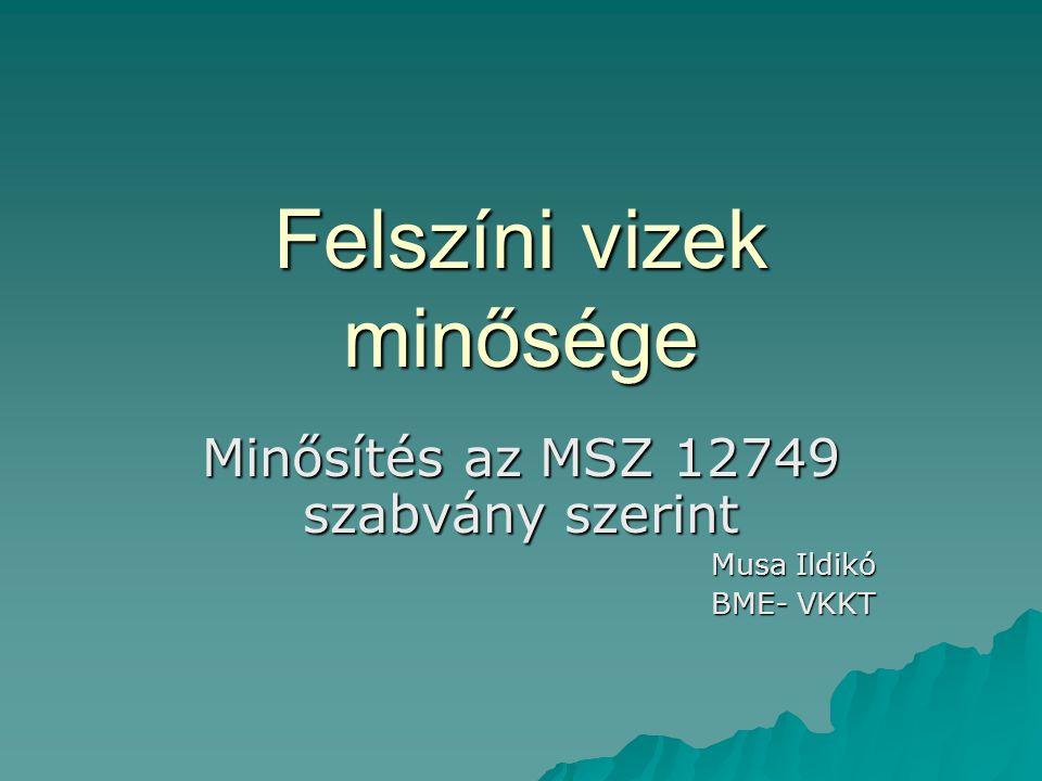 Felszíni vizek minősége Minősítés az MSZ 12749 szabvány szerint Musa Ildikó BME- VKKT