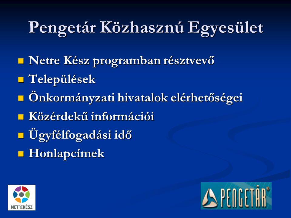 Pengetár Közhasznú Egyesület Netre Kész programban résztvevő Netre Kész programban résztvevő Települések Települések Önkormányzati hivatalok elérhetőségei Önkormányzati hivatalok elérhetőségei Közérdekű információi Közérdekű információi Ügyfélfogadási idő Ügyfélfogadási idő Honlapcímek Honlapcímek
