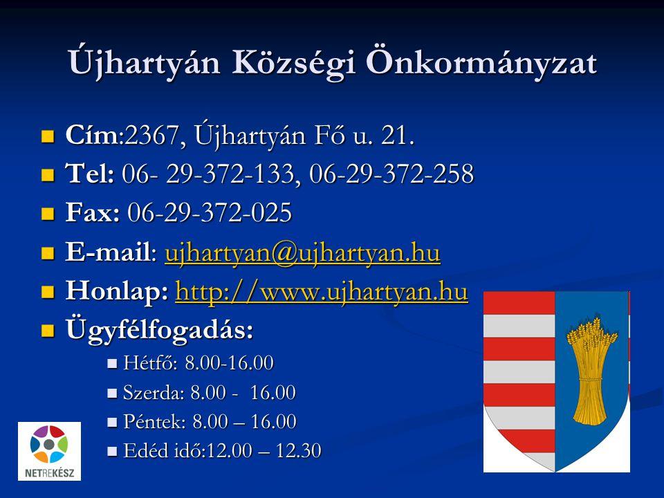 Újhartyán Községi Önkormányzat Cím:2367, Újhartyán Fő u.