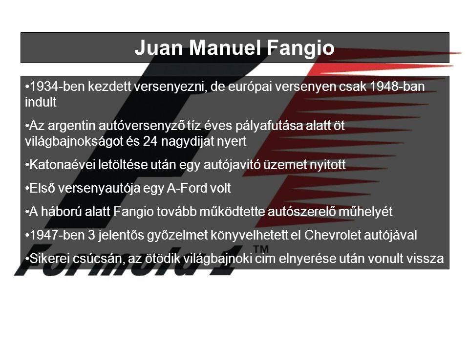 Juan Manuel Fangio 1934-ben kezdett versenyezni, de európai versenyen csak 1948-ban indult Az argentin autóversenyző tíz éves pályafutása alatt öt világbajnokságot és 24 nagydijat nyert Katonaévei letöltése után egy autójavitó üzemet nyitott Első versenyautója egy A-Ford volt A háború alatt Fangio tovább működtette autószerelő műhelyét 1947-ben 3 jelentős győzelmet könyvelhetett el Chevrolet autójával Sikerei csúcsán, az ötödik világbajnoki cim elnyerése után vonult vissza