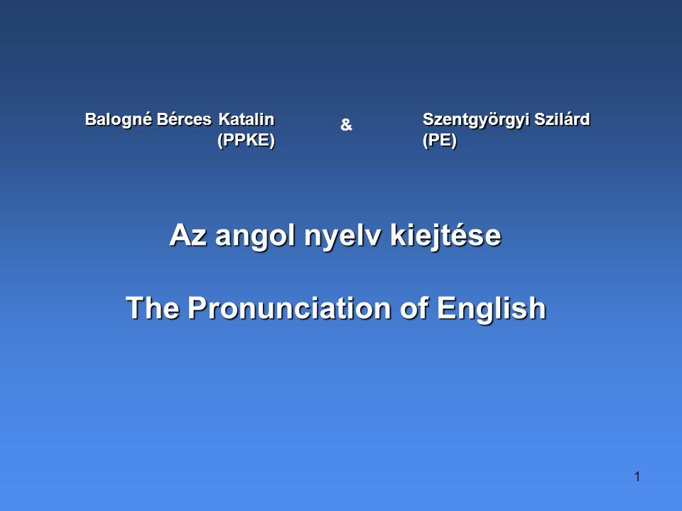 1 Balogné Bérces Katalin (PPKE) & Szentgyörgyi Szilárd (PE) Az angol nyelv kiejtése The Pronunciation of English