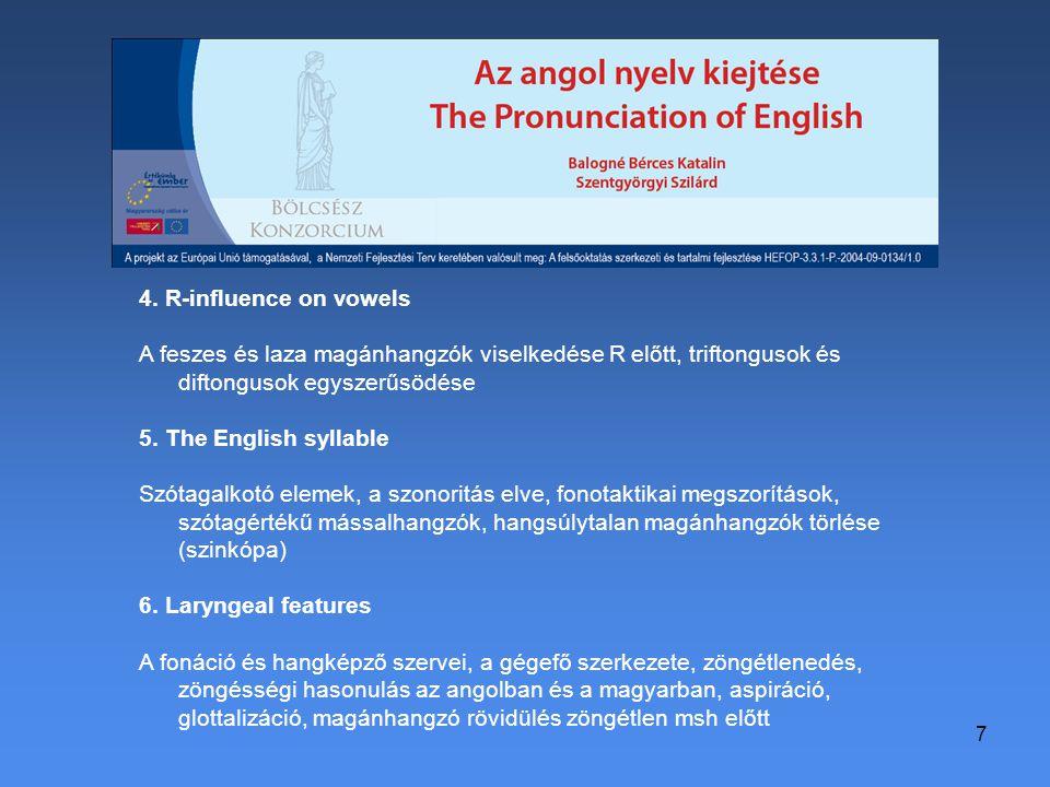 7 4. R-influence on vowels A feszes és laza magánhangzók viselkedése R előtt, triftongusok és diftongusok egyszerűsödése 5. The English syllable Szóta