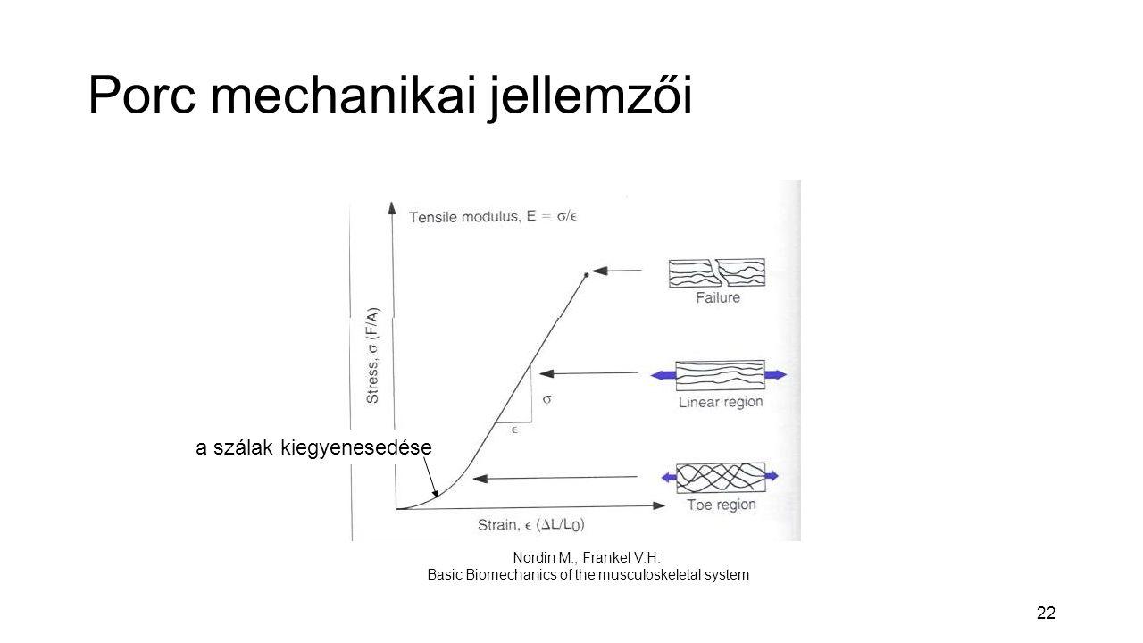 22 Porc mechanikai jellemzői Nordin M., Frankel V.H: Basic Biomechanics of the musculoskeletal system a szálak kiegyenesedése