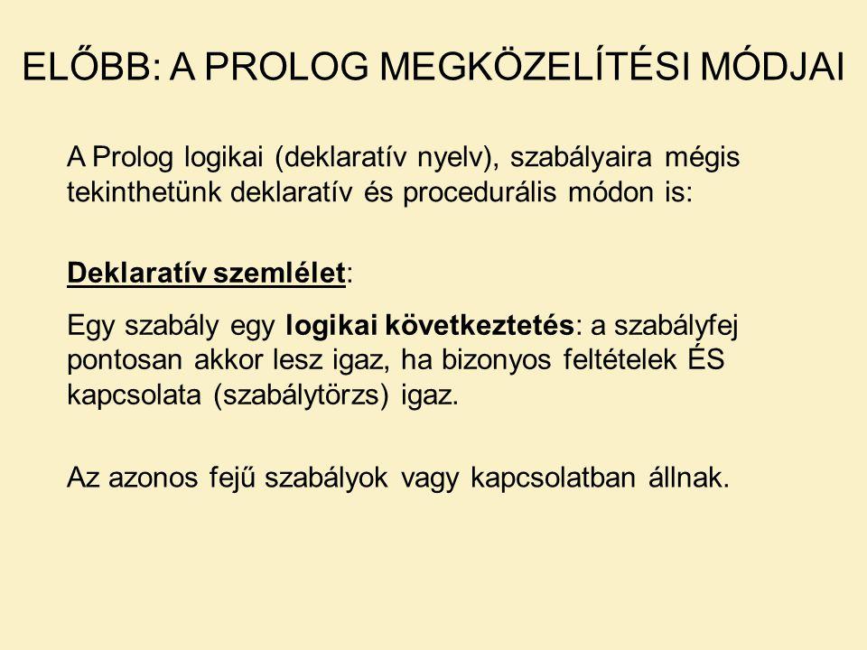 ELŐBB: A PROLOG MEGKÖZELÍTÉSI MÓDJAI A Prolog logikai (deklaratív nyelv), szabályaira mégis tekinthetünk deklaratív és procedurális módon is: Deklaratív szemlélet: Egy szabály egy logikai következtetés: a szabályfej pontosan akkor lesz igaz, ha bizonyos feltételek ÉS kapcsolata (szabálytörzs) igaz.