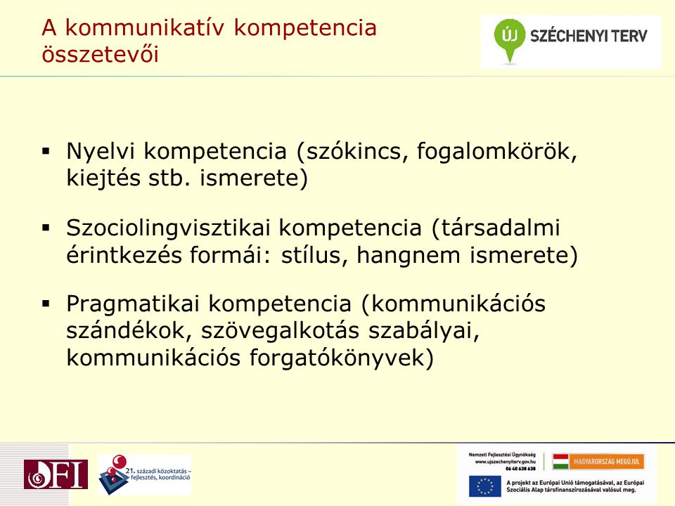 A kommunikatív kompetencia összetevői  Nyelvi kompetencia (szókincs, fogalomkörök, kiejtés stb. ismerete)  Szociolingvisztikai kompetencia (társadal