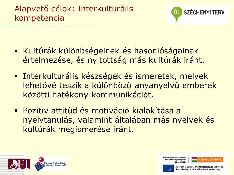 Alapvető célok: Interkulturális kompetencia  Kultúrák különbségeinek és hasonlóságainak értelmezése, és nyitottság más kultúrák iránt.  Interkulturá