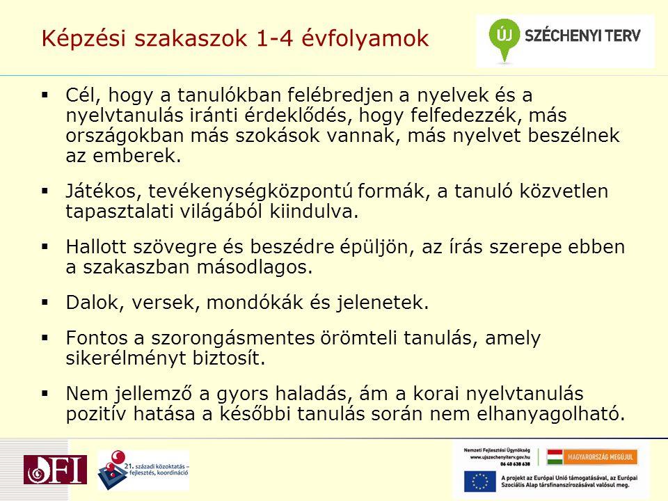 Képzési szakaszok 1-4 évfolyamok  Cél, hogy a tanulókban felébredjen a nyelvek és a nyelvtanulás iránti érdeklődés, hogy felfedezzék, más országokban