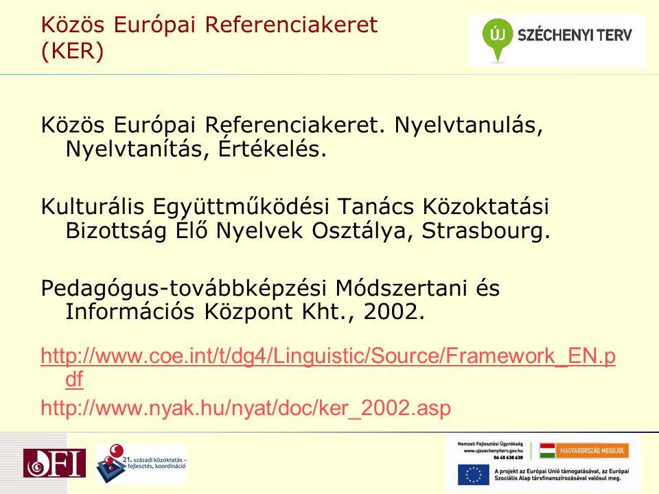 Közös Európai Referenciakeret (KER) Közös Európai Referenciakeret. Nyelvtanulás, Nyelvtanítás, Értékelés. Kulturális Együttműködési Tanács Közoktatási