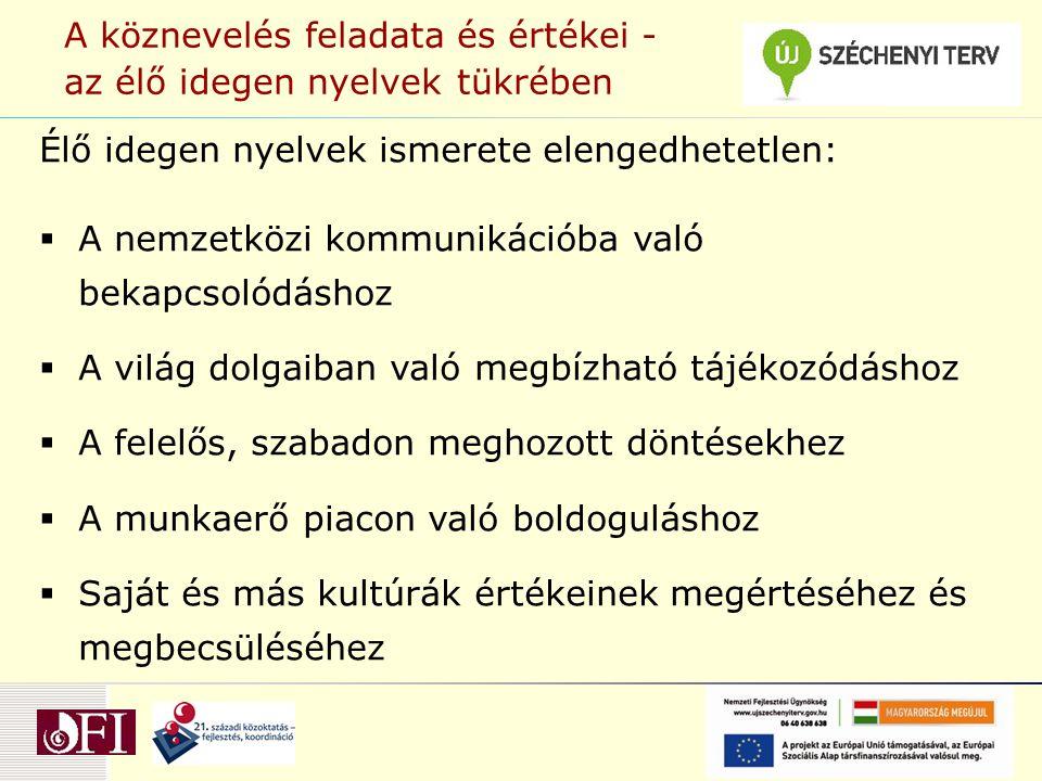 A köznevelés feladata és értékei - az élő idegen nyelvek tükrében Élő idegen nyelvek ismerete elengedhetetlen:  A nemzetközi kommunikációba való beka