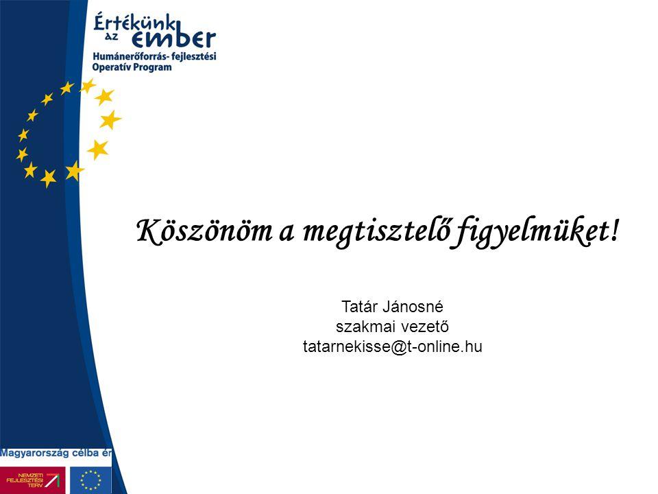 Köszönöm a megtisztelő figyelmüket! Tatár Jánosné szakmai vezető tatarnekisse@t-online.hu