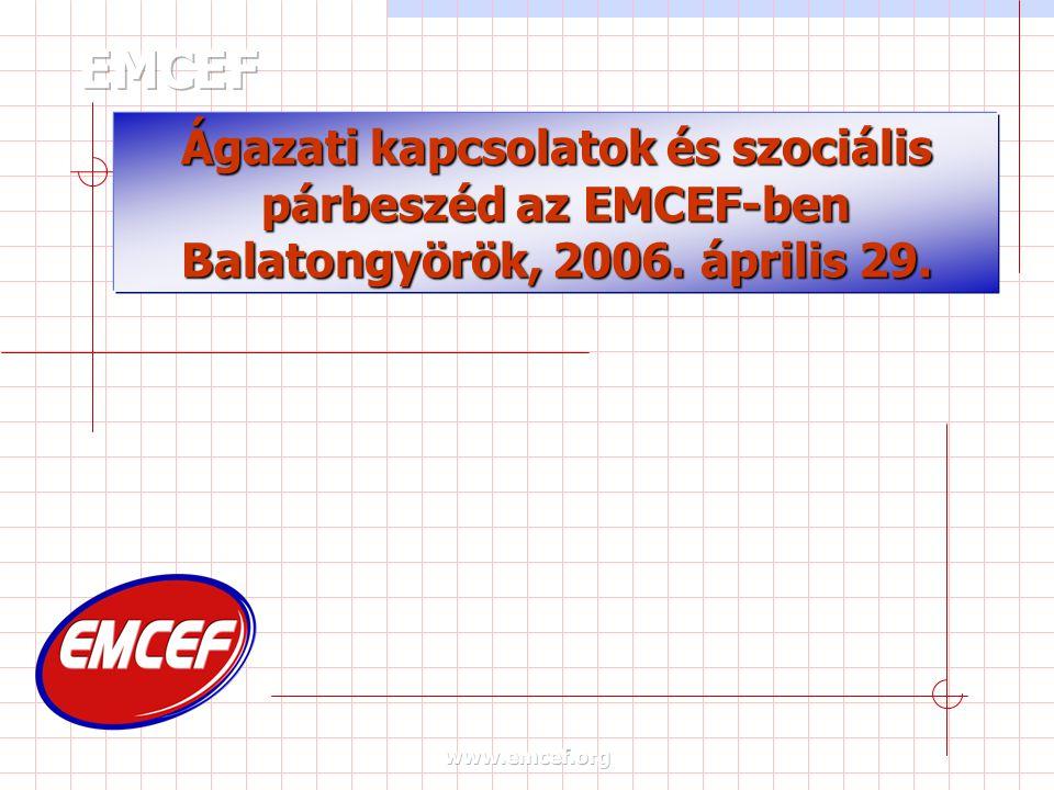 Ágazati kapcsolatok és szociális párbeszéd az EMCEF-ben Balatongyörök, 2006. április 29.