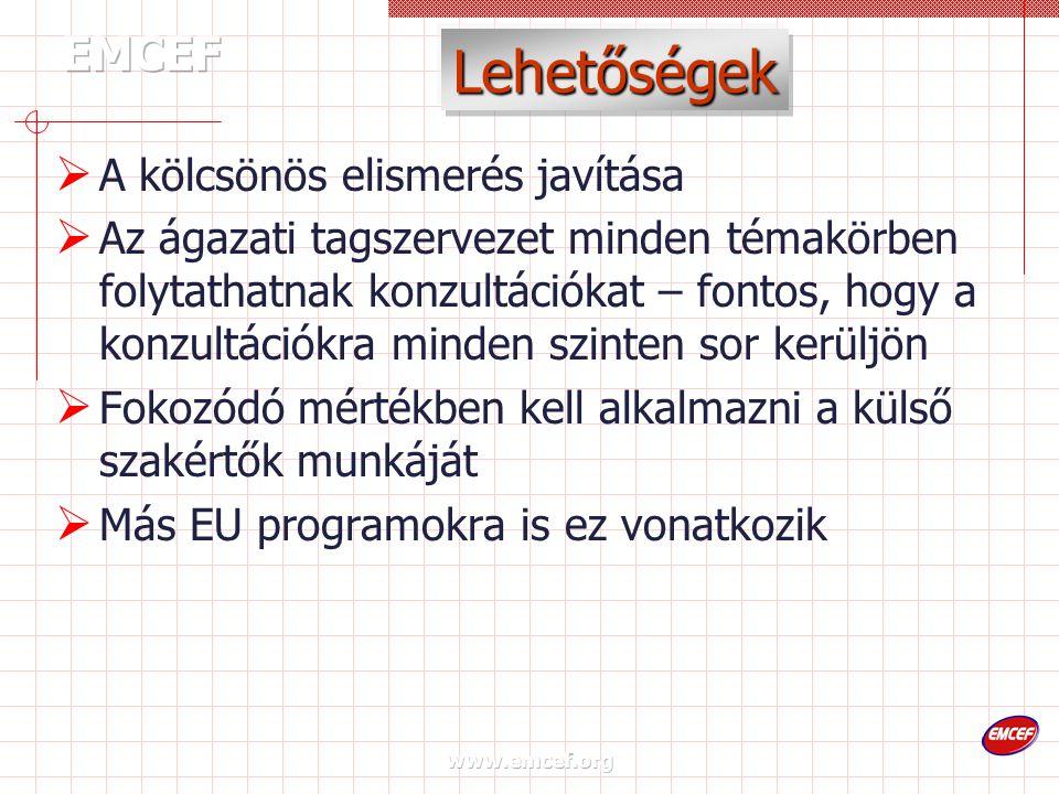 www.emcef.org Lehetőségek  A kölcsönös elismerés javítása  Az ágazati tagszervezet minden témakörben folytathatnak konzultációkat – fontos, hogy a konzultációkra minden szinten sor kerüljön  Fokozódó mértékben kell alkalmazni a külső szakértők munkáját  Más EU programokra is ez vonatkozik
