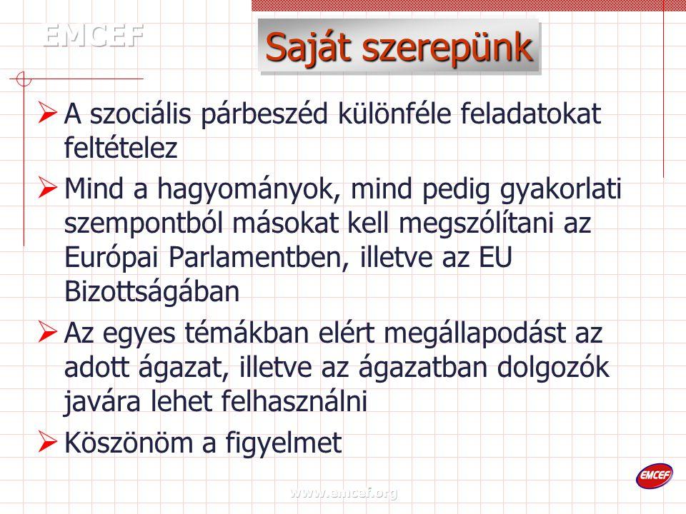 www.emcef.org Saját szerepünk  A szociális párbeszéd különféle feladatokat feltételez  Mind a hagyományok, mind pedig gyakorlati szempontból másokat kell megszólítani az Európai Parlamentben, illetve az EU Bizottságában  Az egyes témákban elért megállapodást az adott ágazat, illetve az ágazatban dolgozók javára lehet felhasználni  Köszönöm a figyelmet