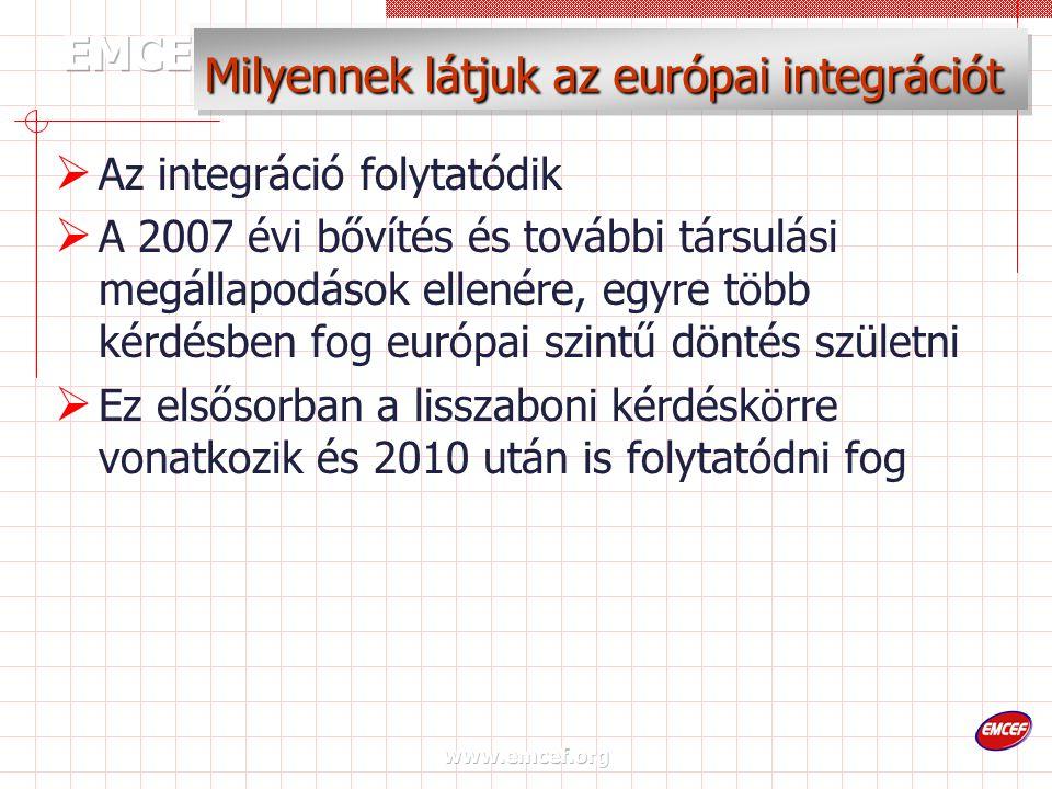 www.emcef.org Milyennek látjuk az európai integrációt  Az integráció folytatódik  A 2007 évi bővítés és további társulási megállapodások ellenére, egyre több kérdésben fog európai szintű döntés születni  Ez elsősorban a lisszaboni kérdéskörre vonatkozik és 2010 után is folytatódni fog