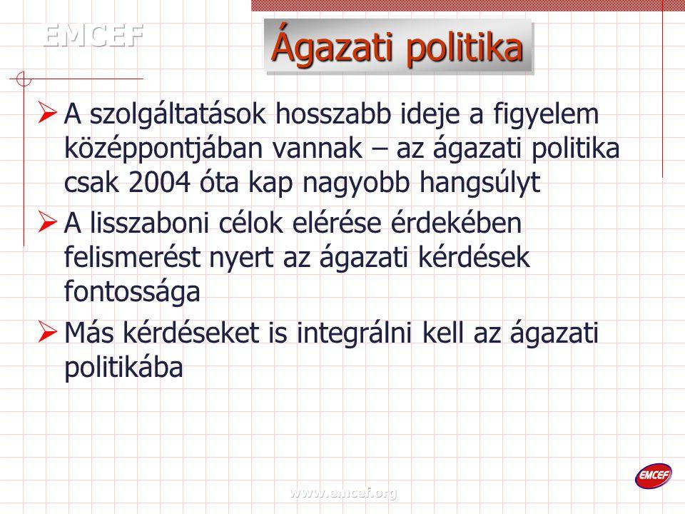 www.emcef.org Ágazati politika  A szolgáltatások hosszabb ideje a figyelem középpontjában vannak – az ágazati politika csak 2004 óta kap nagyobb hangsúlyt  A lisszaboni célok elérése érdekében felismerést nyert az ágazati kérdések fontossága  Más kérdéseket is integrálni kell az ágazati politikába