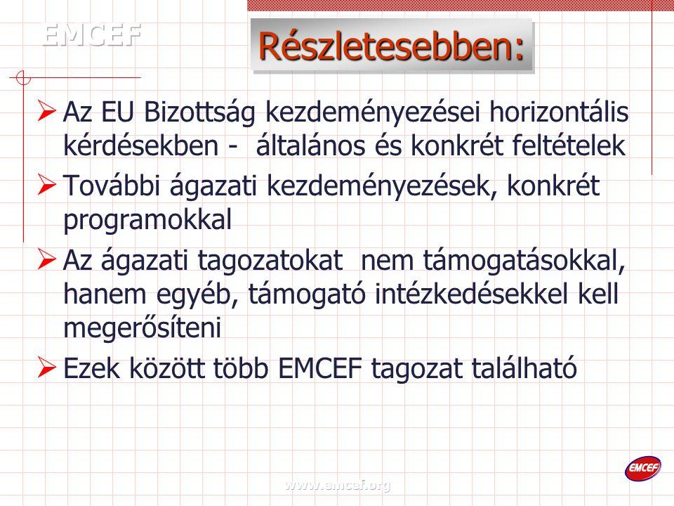 www.emcef.org Részletesebben:  Az EU Bizottság kezdeményezései horizontális kérdésekben - általános és konkrét feltételek  További ágazati kezdeményezések, konkrét programokkal  Az ágazati tagozatokat nem támogatásokkal, hanem egyéb, támogató intézkedésekkel kell megerősíteni  Ezek között több EMCEF tagozat található