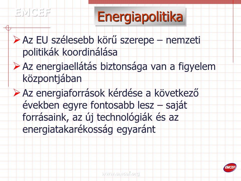 www.emcef.org Energiapolitika  Az EU szélesebb körű szerepe – nemzeti politikák koordinálása  Az energiaellátás biztonsága van a figyelem központjában  Az energiaforrások kérdése a következő években egyre fontosabb lesz – saját forrásaink, az új technológiák és az energiatakarékosság egyaránt