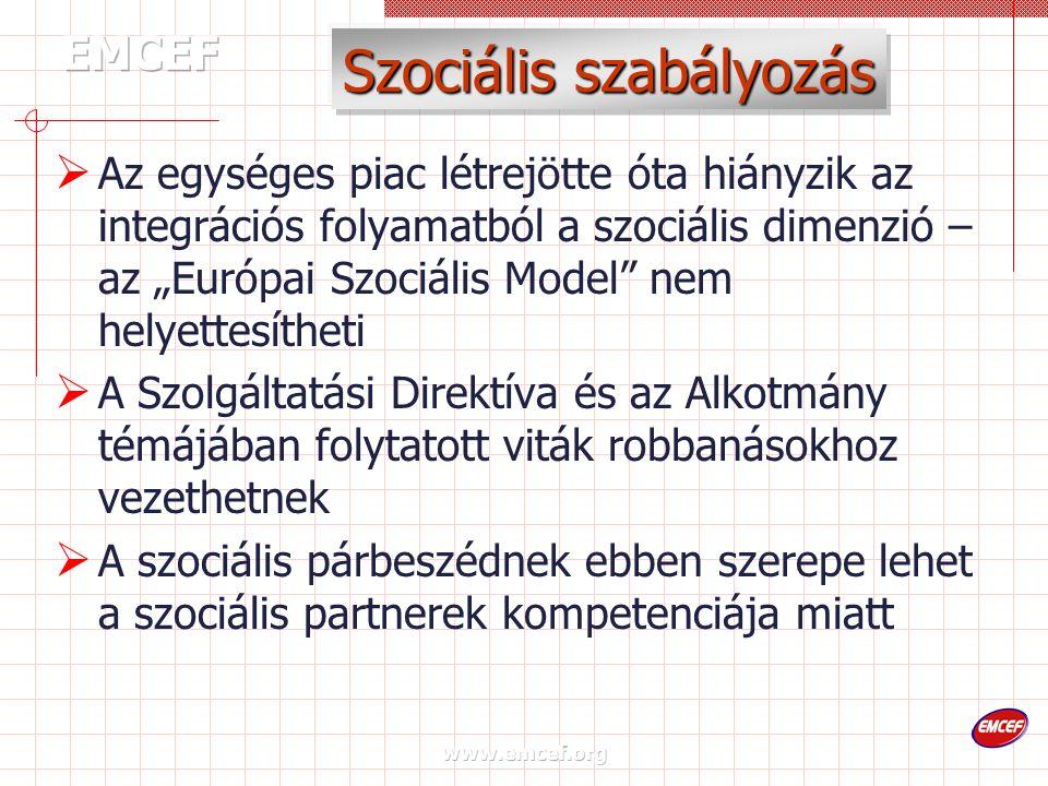 """www.emcef.org Szociális szabályozás  Az egységes piac létrejötte óta hiányzik az integrációs folyamatból a szociális dimenzió – az """"Európai Szociális Model nem helyettesítheti  A Szolgáltatási Direktíva és az Alkotmány témájában folytatott viták robbanásokhoz vezethetnek  A szociális párbeszédnek ebben szerepe lehet a szociális partnerek kompetenciája miatt"""