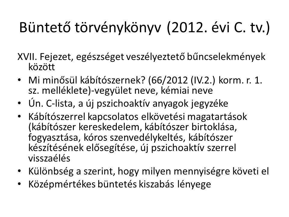 Büntető törvénykönyv (2012. évi C. tv.) XVII. Fejezet, egészséget veszélyeztető bűncselekmények között Mi minősül kábítószernek? (66/2012 (IV.2.) korm
